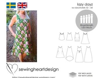 PDF pattern. Lazy Dayz. Size 32-60