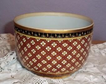 Vintage Enameled Porcelain Small Pedestal Serving Bowl w/ Gold Gilt - Asian? Japanese? Maroon, White, Black Lattice Design - Small Squares