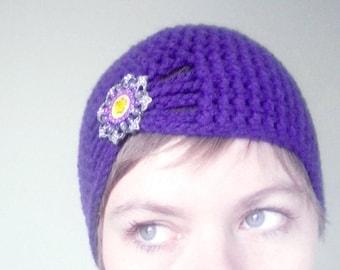 Crochet Flapper Hat in Purple - crochet winter hats for winter, crochet winter hats for girls - 1920s flapper girl hats