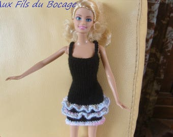 Clothes for Barbie doll, black dress with Ruffles.