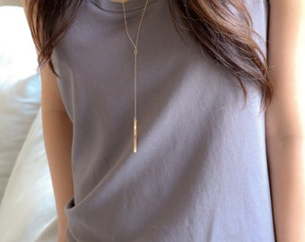 Long Gold Bar Necklace, Long gold necklace, long necklace, Vertical bar necklace, Lariat Necklace, Y necklace, Silver layering necklace