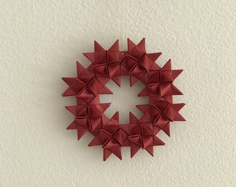 Moravian Star Wreath—Metallic Red