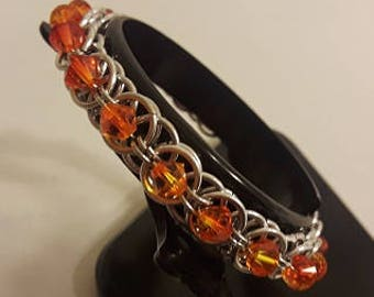 Helm Weave Chainmaille Bracelet with Swarovski, Fire Opal Crystals