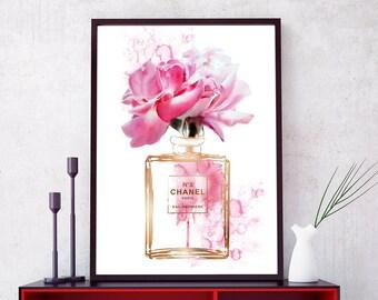 Chanel Perfume bottle, Coco Chanel Print, Chanel Bottle, Fashion Print, Fashion Wall Art. Coco Chanel Wall Art. Chanel Decor. Chanel Poster.
