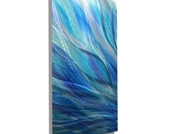 ON SALE! Aqua, Blue & Purple Modern Metal Wall Art Accent, Handmade Abstract Wall Painting, Contemporary Home Decor - Glory by Jon Allen