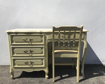 Desk Vanity Table French Provincial Antique Queen Anne Writing Regency White Gold Shabby Chic Dresser Office Laptop Stand CUSTOM PAINT AVAIL