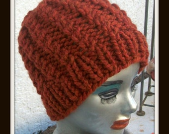 HAT WOMEN KNITTED Rust color Chunky Bulky Hat Knitted Girls Gift Beanie Slouchy