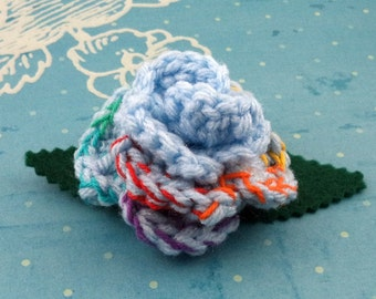Crocheted Rose Barrette - Light Blue and Rainbow (SWG-HB-MPRD02)