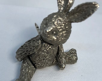 Pewter articulated bunny pin tack Rabbit