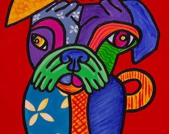 Pugcasso // Dog pug Picasso pun art - art print