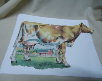 Vintage Dairy Cow Cardboard Cutout, It may be Dennison, collectable