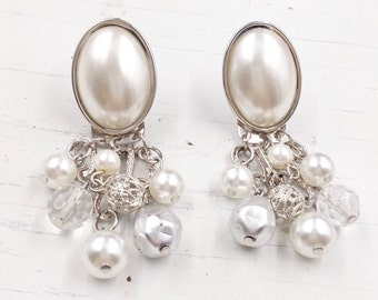 Vintage Pearl and Crystal Dangle Earrings, 2 in 1 Convertible Clip On Earrings, Wedding Jewelry with Pearls Earrings