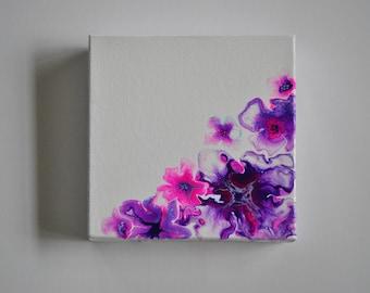 Liquid Flowers-Fluid acrylic painting 6 x 6x 1.5 inch.