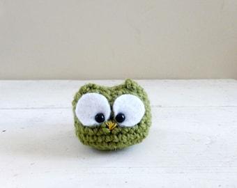 Crochet owl, Owl stuffed animal - Big eyed owl doll, ready to ship, hand crochet, plush owl doll, desk sitter, cute crochet owl