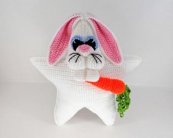 Bunny Pillow Crochet Pattern - Bunny Crochet Pattern - Hopkins the Bunny Star Pillow Crochet Pattern #106 - Instant Download PDF