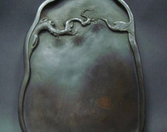 """Hand Carving Old Chinese InkStone Ink Slab """"ZuoFengYiCheng"""" Mark"""