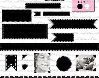 Digital ribbon clip art clipart Black and White black frame clip art clipart clip art digital banner circle stitch : c0081 v001