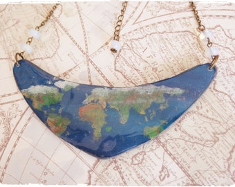 Necklace Earth world globe and Pearl foils