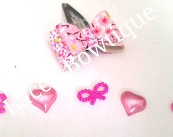 Glitter hair bow. Hair clip. Canvas bow. Snap clip. Hair Accessories