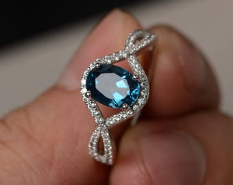Oval Cut London Blue Topaz Ring Silver Blue Gemstone Ring Engagement Ring Infinity Ring