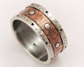 Mens wedding band - silver copper ring,mens engagement ring,mens wedding ring,man ring,anniversary gifts,ring for men,rustic ring