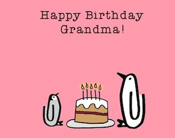 Happy Birthday Grandma! Birthday, grandma, cake, penguin