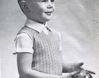 Vintage Boy's Cable Sleeveless Sweater Knitting Pattern PDF / Sizes 1 to 4 Boy's knitted vest pattern / jersey pattern / cable jumper