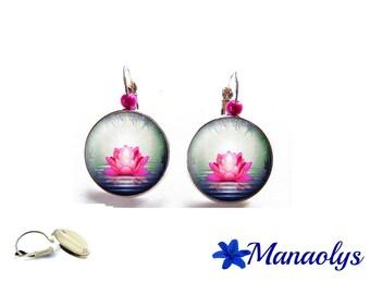 Stud Earrings, zen lotus flower, fuchsia, 3419 glass cabochons earrings