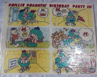 "Vintage Baseball Phillie Phanatic Jigsaw Puzzle, Philadelphia Phillies, ""Birthday Party"" 1981"
