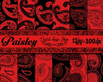 Red and Black PAISLEY Pattern Digital Papers Pack - 12pcs 300dpi (paper crafts,card making,scrapbooking) Personal and Commercial use