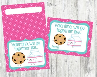 Milk & Cookies Valentine's Day Cards and Bag Toppers