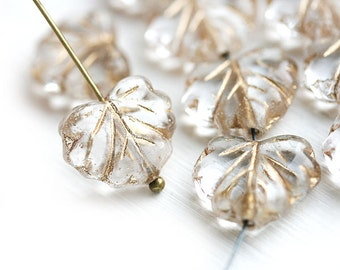 10pc Crystal Clear Leaf Beads with Golden inlays, Czech glass Maple leaves - 11x13mm - 0629