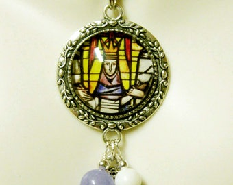 Coronation of Mary stained glass window pendant and chain - AP26-075