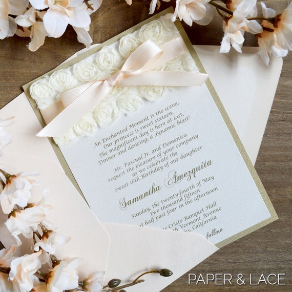 SAMANTHA - Blush & Gold Sweet Sixteen Invitation with Ivory Rosettes and Pale Peach Ribbon - Quinceañera Invitation
