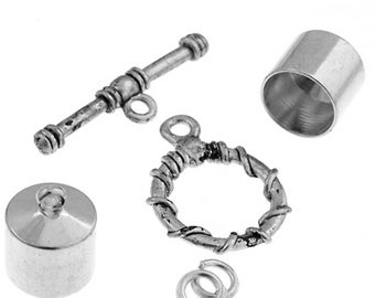 Kumihimo Jewelry Finding Kit Silver 10mm End Cap/Jump Ring/Toggle