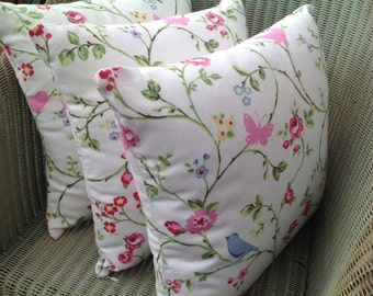 Bird Trail Clarke and Clarke Cushion with Pad, Blue Butterfly, Concealed Zip