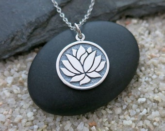 Lotus Flower Necklace, Sterling Silver Lotus Charm, Yoga Jewelry