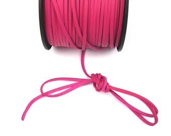 FUCHSIA 3 mm leather cord / 1 mm X 1 meter