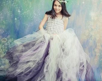 Sugar Plum - Flower Girl tulle skirt in Ivory and Lavender over Plum -Sewn long length tutu skirt - custom made for weddings