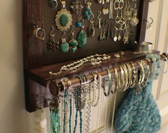 ON SALE You Get to Pick the Stain Wall Mounted Jewelry Organizer with a Bracelet Bar, Wall Organizer, Jewelry Display, Necklace Holder