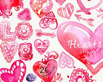 Watercolor Hearts Clipart. Valentine's Day Watercolor, Love, 14th February, 400 dpi PNG, transparent background for scrapbooking, DIY cards