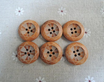 15Pcs   23mm Brown  Wood button 4  holes with  geometrical pattern ( W779)