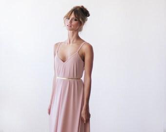 Pink maxi straps dress, Maxi pink lining dress 1026