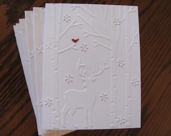 Christmas Deer Card Set, Deer Christmas Cards, Holiday Card Set, Christmas, Embossed Christmas Card Set, Boxed Christmas Card Set, Set of 12