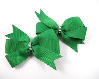 Green Hair Bows - St Patricks Day Clips - Hair Bow Set - Pigtail Hair Bows - Green and Silver Hair Clips - Toddler Teenager Adult Hair Clip