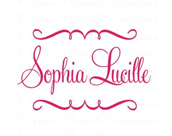 Name Wall Decals - Cute Name Monogram Vinyl Wall Decal - Swirl Accents with Monogram for Girl or Boy 22H x 36W FN0115