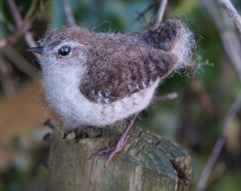 Needle Felt Wren Bird Sculpture
