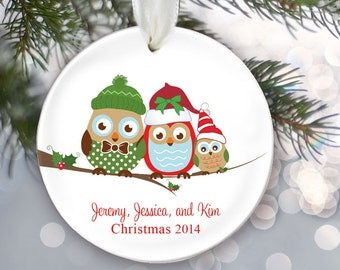 Personalized Family Christmas Ornament Owl Family of 3 Owls Ornament Christmas Gift Custom Ornament Holiday Gift Name & Date Three OR253