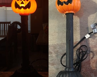 Vintage blow mold Halloween pumpkin candle stick NEW never used