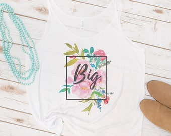 Big and Little Tank, Sorority, Big Little Reveal, Watercolor Floral, Big Sis, Little Sis, GBig, GGBig, Retro, Vintage